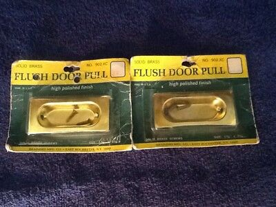 Pair Vintage Mid Century Solid Brass Flush Passage Pocket Door Pulls NOS