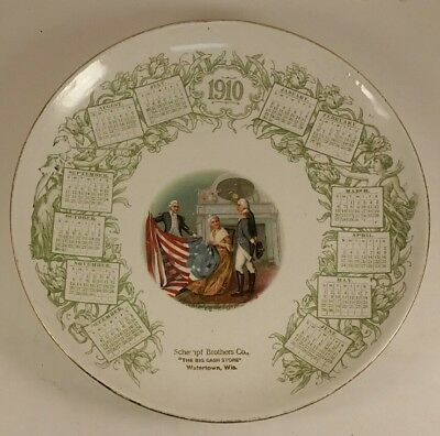 Antique 1910 Calendar Plate Schempf Brothers Co. Watertown WI