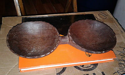 """Vintage - 2 (two) SIDED HANDMADE WOODEN ATTACHED 6"""" BOWLS Made In Suriname"""