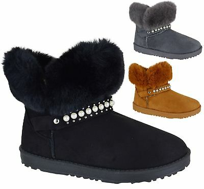 Ladies Womens Flat Warm Winter Ankle Faux Fur Lined Snugg Hug Snow Boots Size