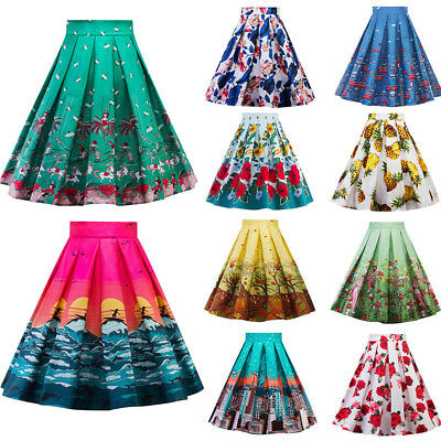 Vintage 50s 60s Retro Floral Waist Pleated Skirt Summer Party A line Swing Skirt