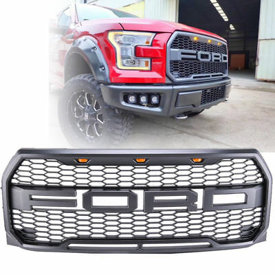 For 2015 2016 2017 Ford F150 Raptor Front Bumper Grille With F&R Letter 3 LED