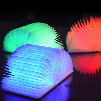 USB Rechargeable LED Folding Lamp Turning Book Shape Nightlight Durable NEW SW1T