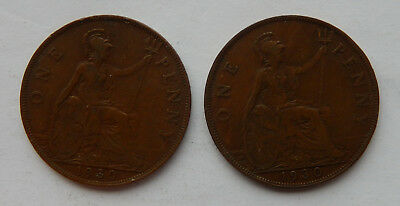 "1930 UK / Great Britain One Penny Coin KM#838 ""Lot of 2 Coins""    SB5118"