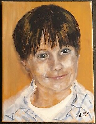 Original Irish Art Oil On Canvas Painting Portrait Of Boy By S J Dempsey