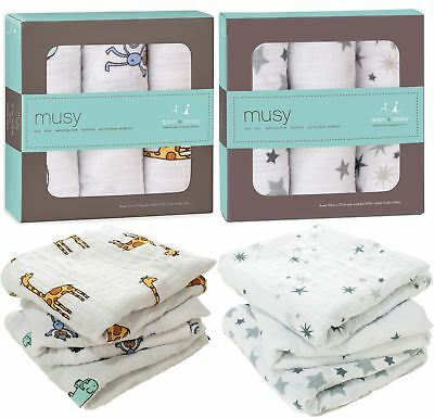 Aden + Anais MUSY MUSLIN SQUARES 3 PACK Baby Feeding 100% Cotton BNIB