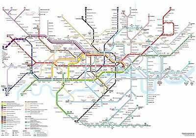 Detailed London Underground Tube Map Giant Poster - A5 A4 A3 A2 A1 A0 Sizes
