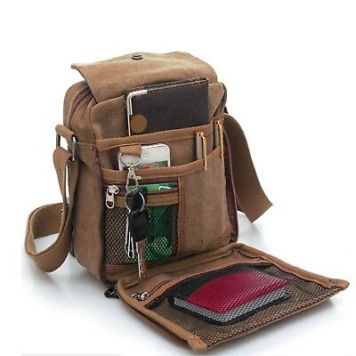 Men's Canvas Shoulder Messenger Rucksack Backpack School Travel Bag Satchel (Bro