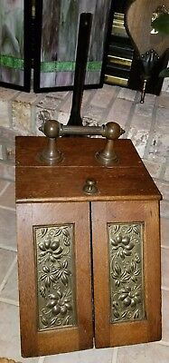 Antique Victorian Oak & Brass Coal Ash Scuttle Fireplace Mantel Bucket Movement!