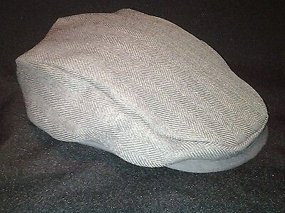 Grey Herringbone Baby/Toddler Flat Cap (Fully lined) made in the UK