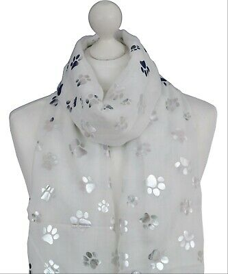 Grey Paw Print Ladies Scarf Metalic Glitter Silver Printed Foil Print  Dog Cat