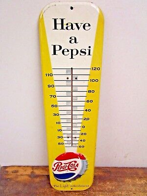 Vintage ORIGINAL 1959 PEPSI COLA Have a Pepsi Soda Pop Metal Thermometer Sign