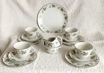 6os RIDGWAY VINEWOOD WHITE MIST - 4 PLACE TEA SET - JUG, BOWL AND SANDWICH PLATE