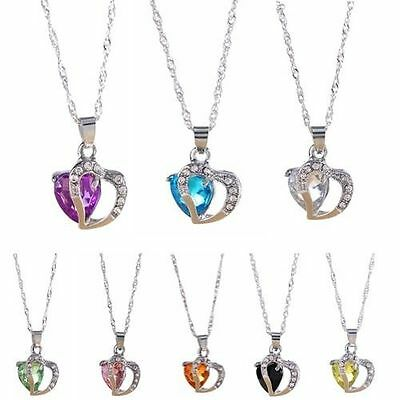 New .925 Sterling Silver Double Heart Crystal Necklaces Many Colors- Birthstones