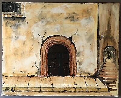 Original Oil On Canvas Painting Of A Castle Gate Door Stronghold By S J Dempsey
