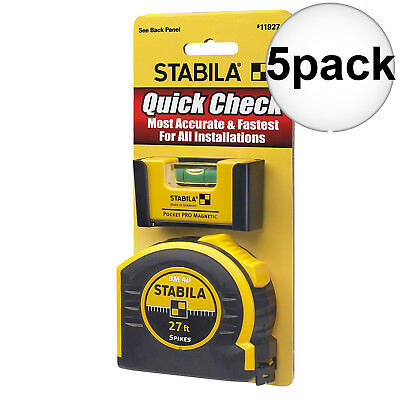 Stabila 11927 5pk Pocket Pro Magnetic Level + BM40 Spikes 27' Tape Measure New