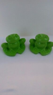 Lot  2 large ceramic frogs green 6.5 inches tall, 7 inches wide