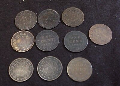 Lot of 10 Large Cents of Canada 1859 1881H 1882H 1892 1893 1895 1902 1907 1909