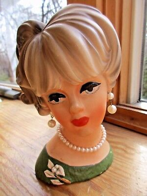 """Vintage Napco Woman Lady Head Vase 6"""" Pearl Earrings Necklace Pretty Face C7472"""