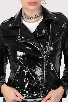 Vinyl Wet Look in Black Biker Jacket by PILOT JACKET