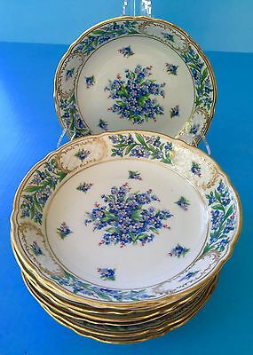 "8~8""Schumann Bavaria Soup Bowls Forget Me Not Germany Antique"