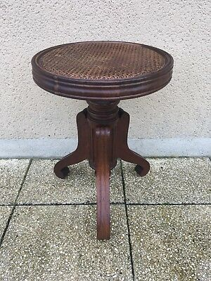 Antique French Cane Adjustable Piano Stool
