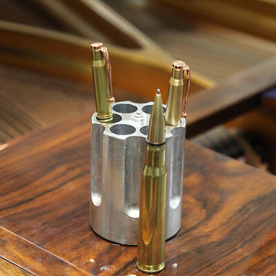 Caliber Gourmet Gun Cylinder Revolver shaped Pen Holder Crafted from Aluminum