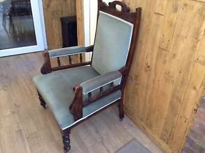 Antique Victorian Mahogany Reading Library Chair With Sprung Seat. Delivery Poss