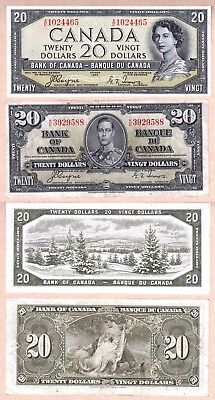 1954 $20 Bank of Canada Devils Face QE2 EF+ & 1937 $20 KGVI in aEF