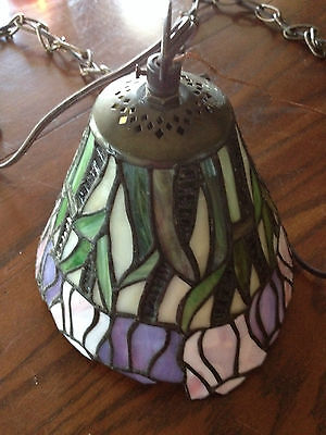 Vintage Tiffany Style Hanging Stained Slag Glass Light Swag Colored