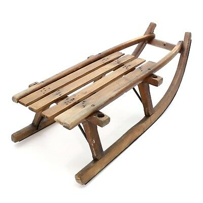 """Antique 1900s Wood & Iron 33"""" Snow Metal Sub Runners Vintage Winter Sled Sleigh"""