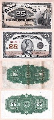 Dominion of Canada Shinplaster 25c notes: 1900 VF & 1923 EF