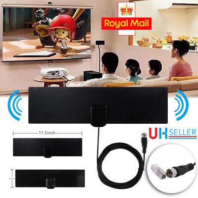 TV & F Connector Female Flat Indoor Antenna Aerial HD TV Fox Scout HDTV VHF ET7G