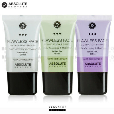 Absolute New York Flawless Face Foundation Primer Clear, Green, Lavender- Pick