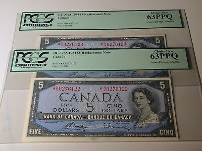 1954 Bank of Canada $5 Consecutive Replacement Bank Note Pair *R/X PCGS Unc 63