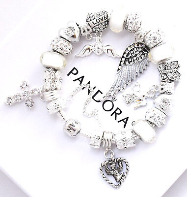 Authentic PANDORA Bracelet Silver Angel Wing White MOM Wife European Charms NIB