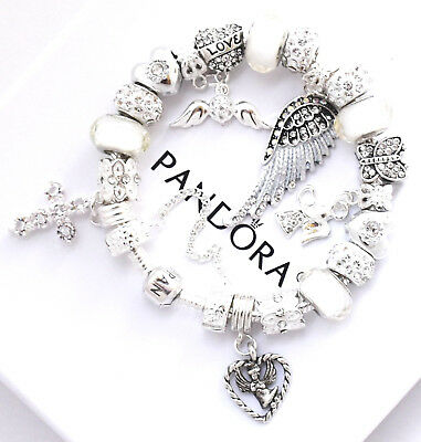 Authentic PANDORA Silver Bracelet With GUARDIAN ANGEL WHITE European Charms NIB