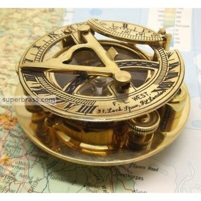 Fascinating Solid Brass Sundial Clock with Inset Compass Engraved Vane. 3 Inches