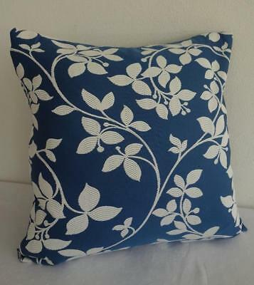Hamptons Sea Blue & White Scroll Flowers Jacquard Damask Cushion Cover 45