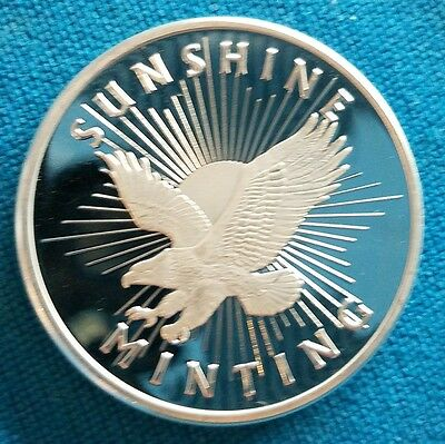 1 Troy oz Sunshine Minting .999 Fine Silver Round Mint Mark SI