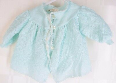 Vintage Renzo Made in Italy Turquoise Blue Ribbon Trim Cardigan Sweater Infant