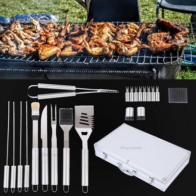 21pcs Stainless Steel BBQ Grill Tools Set Outdoor Utensils With Aluminum Case