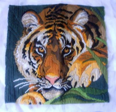 Vintage Completed Long Stitch Tapestry Tiger Suit Cushion Frame Etc
