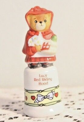 Enesco Lucy Red Rining Hood 1988 Topper Thimble