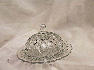 Round Covered Butter Dish In The Prescut Pineapple Pattern By Anchor Hocking