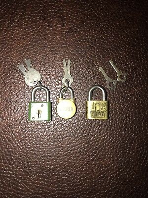 Lot of 3 Vintage brass Reese , sports & Bison miniature Lock With Keys