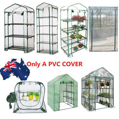 3/4/5 Tier Plant House Greenhouse PVC Cover Walk-In Green Shed Storage Apex Roof