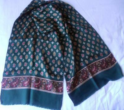Vintage Mens Scarf 100% Silk Forest Green With Red Cream Paisley Print