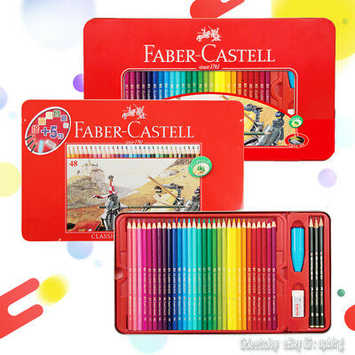 FABER CASTELL Assorted 48/60 Colors Classic Color Pencil Tin Set Art Drawing