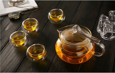 8in1 Gift Teaset Heat-resistant Glass 450ML Teapot +4 pcs Double Wall Cups+Wamer